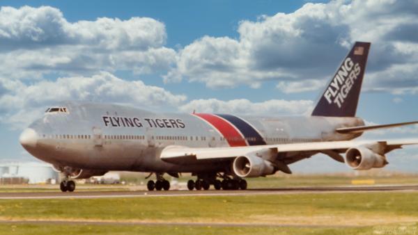 N819FT. Boeing 747-121(SF). Flying Tigers. Prestwick. 1980`s.