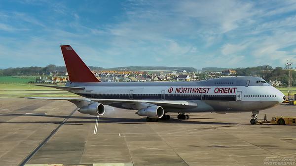 N634US. Boeing 747-227B. Northwest Orient. Prestwick. 1980`s.