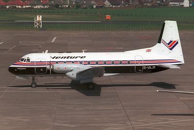 G-VAJK. Hawker Siddeley HS-748 Srs1. Venture Airlines. Prestwick. 1980`s.