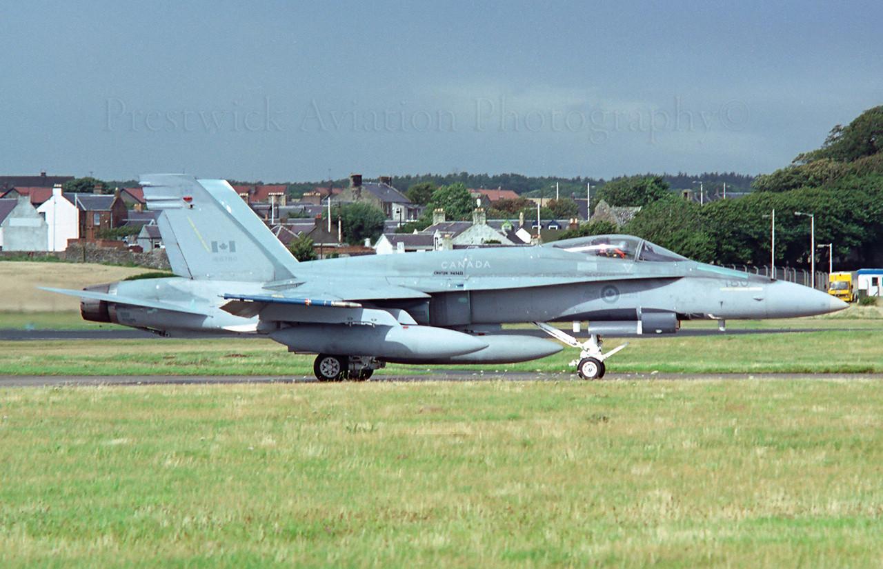 188780. McDonnell Douglas CF-188A Hornet. Canadian Armed Forces. Prestwick. 1990`s.<br /> <br /> Negative scan.