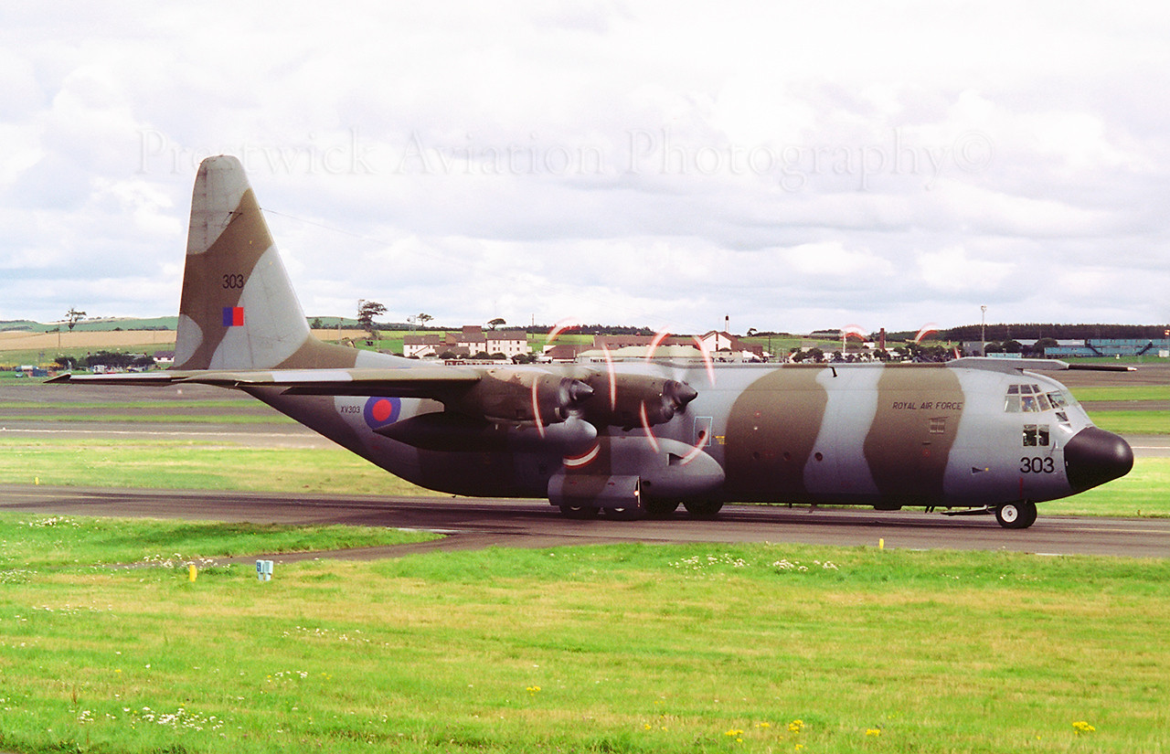 XV303. Lockheed C-130K Hercules C3. RAF. Prestwick. 1980`s.<br /> <br /> Retired November 2013.<br /> Negative scan.