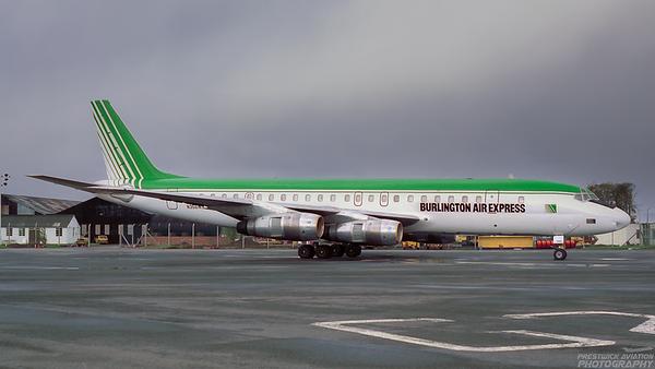 N356WS. DC-8-54CF. Burlington Air Express. Prestwick. 1989.