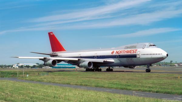 N607US. Boeing 747-151. Northwest. Prestwick. 1980`s.