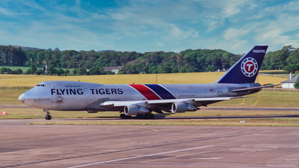 N808FT. Boeing 747-249F. Flying Tigers. Prestwick. 1980`s.