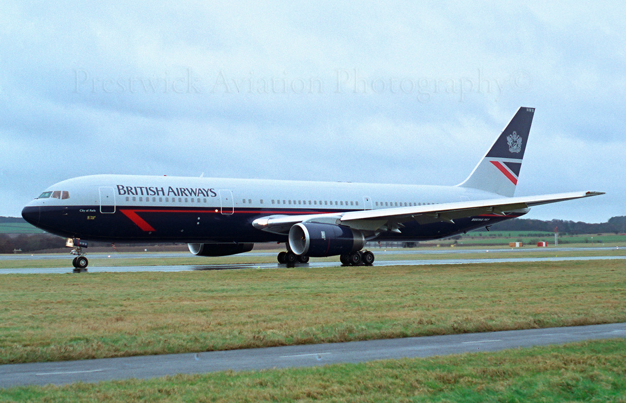 G-BNWB. Boeing 767-336/ER. British Airways. Prestwick. 1980`s.<br /> <br /> BA`s second 767 at Prestwick for some crew training shortly after delivery.<br /> Negative scan.