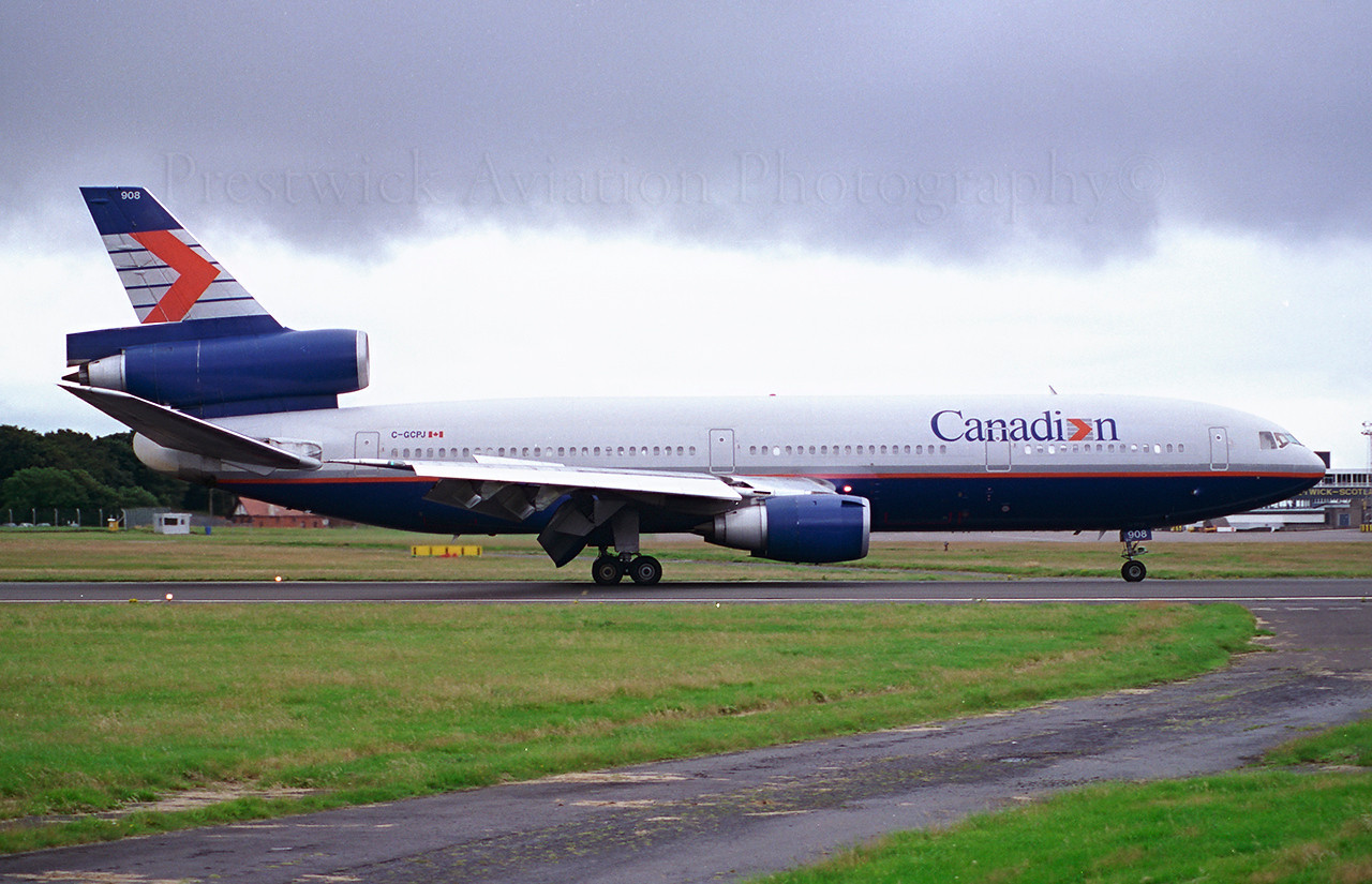 C-GCPJ. McDonnell Douglas DC-10-30. Canadian Airlines. Prestwick. 1990`s.<br /> <br /> Fuel diversion.<br /> Negative scan.