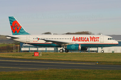 N673AW. Airbus A320-232. America West. Prestwick. 201104.  Delivery flight.
