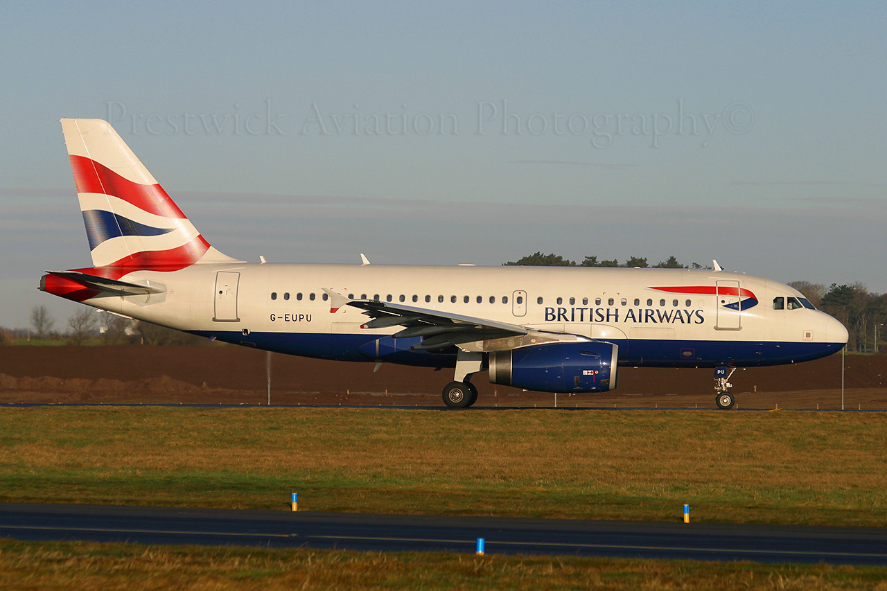 G-EUPU. Airbus A319-131. British Airways. Prestwick. 040103.