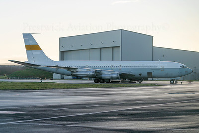 N707LG. Boeing 707-3M1C. Omega Air. Prestwick. 151204.