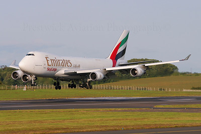 N408MC. Boeing 747-47UF/SCD. Emirates Sky Cargo. Prestwick.120704.  Inbound for maintenance at Polar.