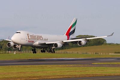 N408MC. Boeing 747-47UF/SCD. Emirates Sky Cargo. Prestwick.120704.  Inbound for maintenance at Polar.