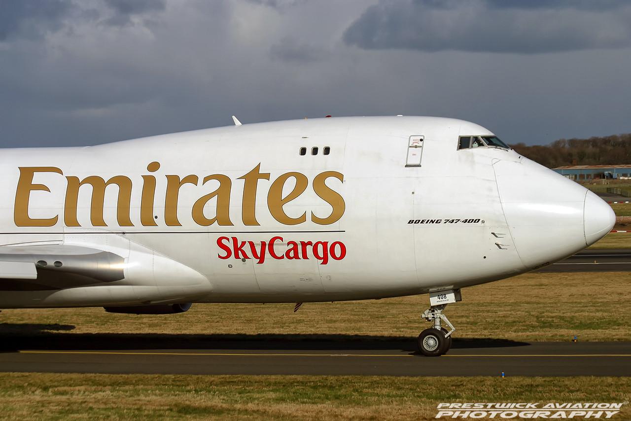 N408MC. Boeing 747-47UF/SCD. Emirates Sky Cargo. Prestwick. 250204.