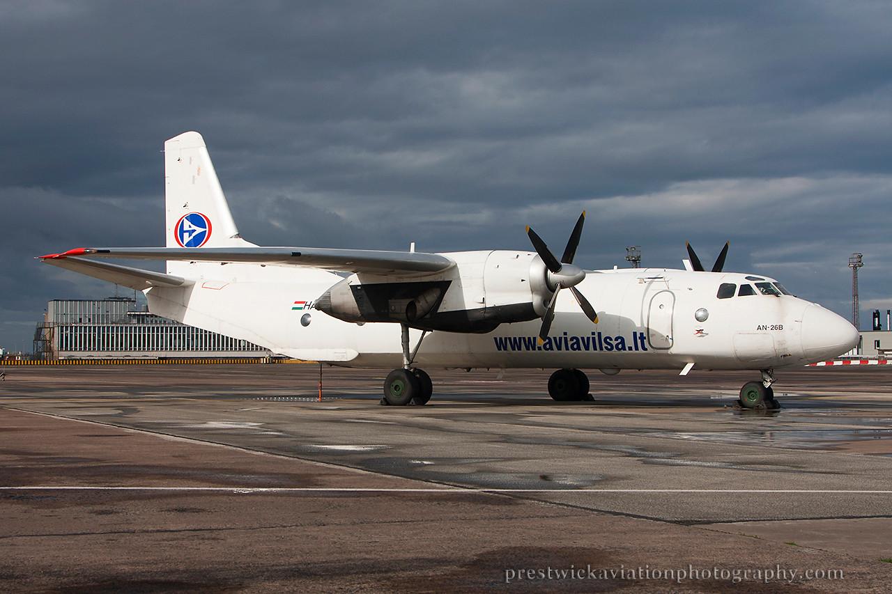 HA-TCV. Antonov An-26B. Cityline Hungary. Prestwick. 130814.