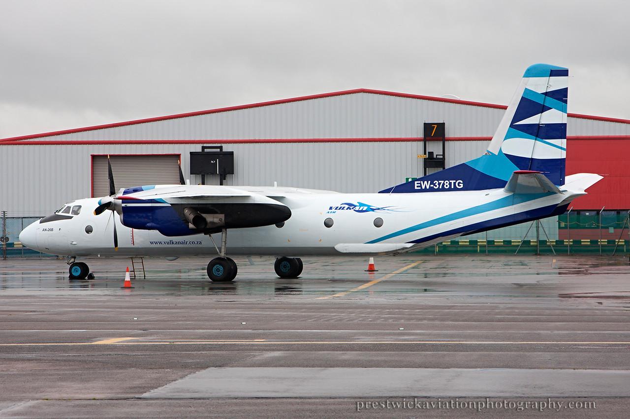 EW-378TG. Antonov An-26B. Vulkan Air. Prestwick. 210814.