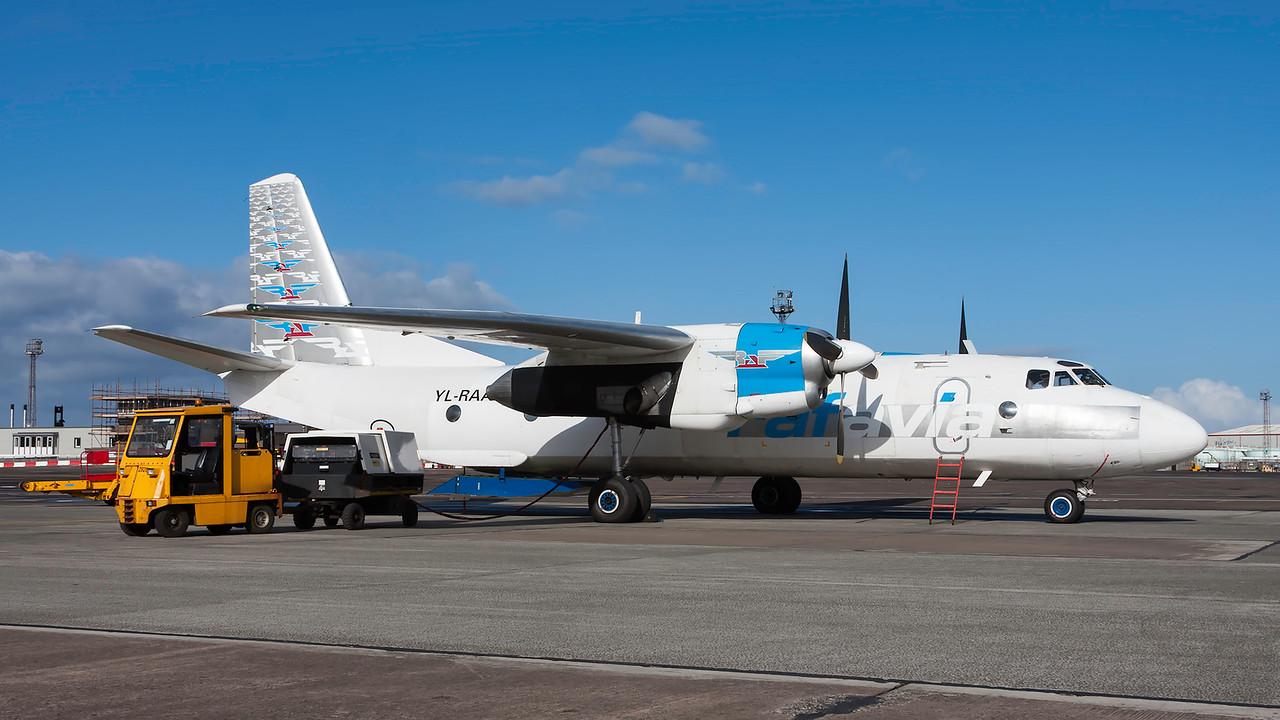 YL-RAA. Antonov An-26B. RAF Avia. Prestwick. 240414.