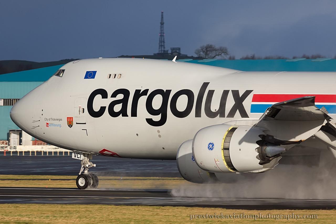 LX-VCI. Boeing 747-8R7F/SCD. Cargolux. Prestwick. 151214.