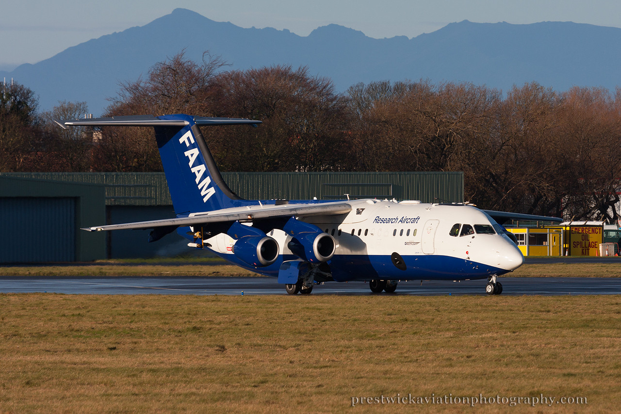 G-LUXE British Aerospace BAe-146-301ARA Facility for Airborne Atmospheric Measurements - FAAM Prestwick 301114.