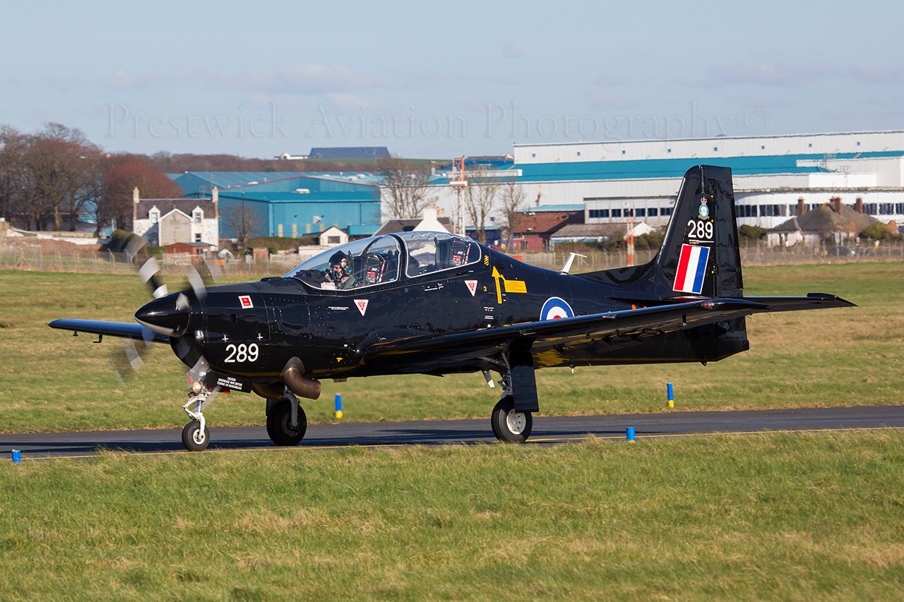 ZF289. Shorts S-312 Tucano T1. RAF. Prestwick. 250314.