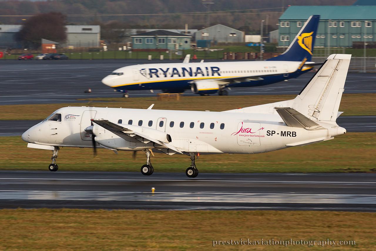 SP-MRB. Saab-Fairchild SF-340A(QC). Sky Taxi. Prestwick. 261214.