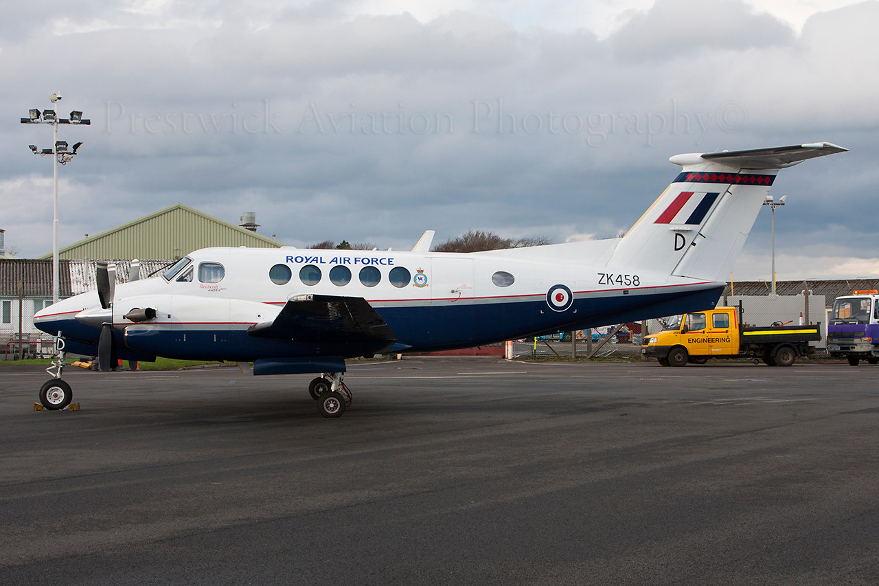 ZK458. Hawker Beechcraft B200GT King Air. RAF. Prestwick. 290114.