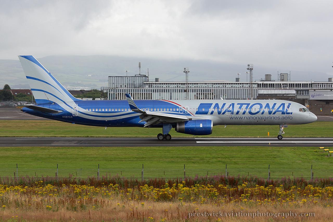 N567CA. Boeing 757-223. National Airlines. Prestwick. 030814.