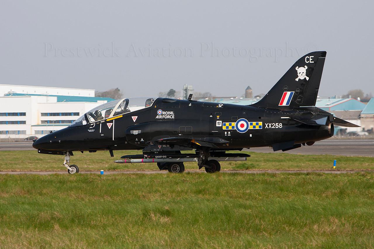XX258. British Aerospace Hawk T1A. RAF. Prestwick. 310314.