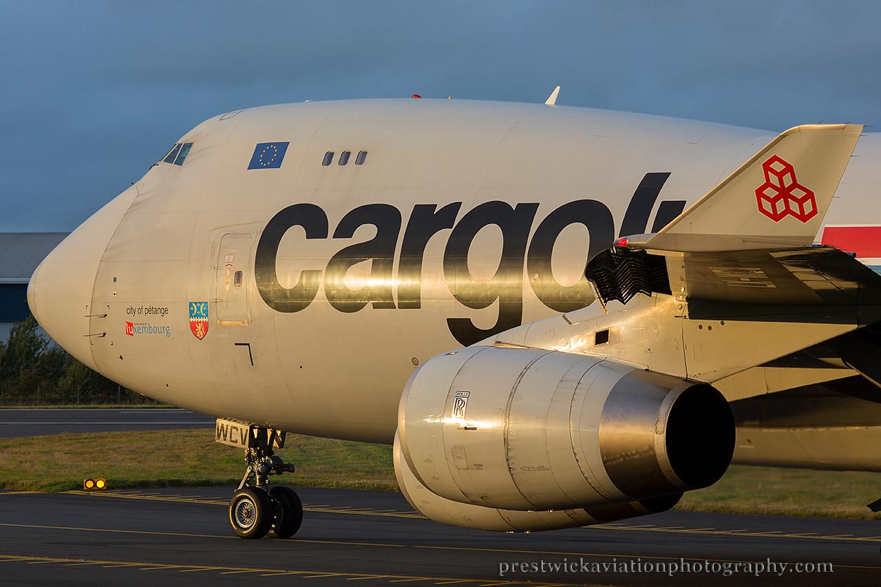 LX-WCV. Boeing 747-4R7F/SCD. Cargolux. Prestwick. 030814.