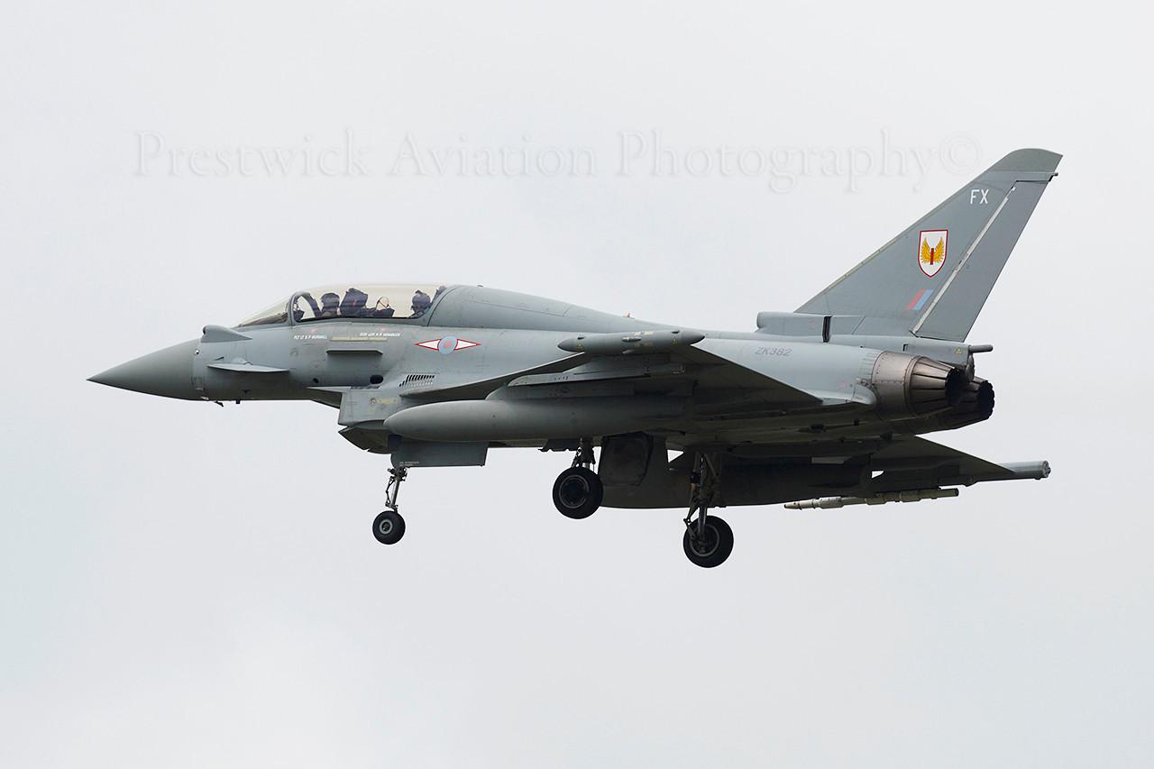 ZK382. Eurofighter EF-2000 Typhoon T3. RAF. Prestwick. 040614.