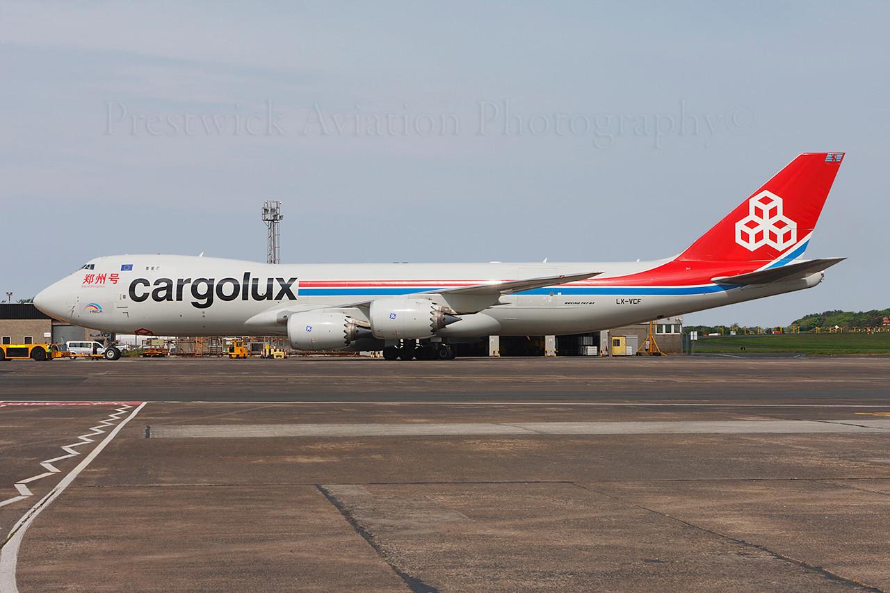 LX-VCF. Boeing 747-8R7F/SCD. Cargolux. Prestwick. 190514.