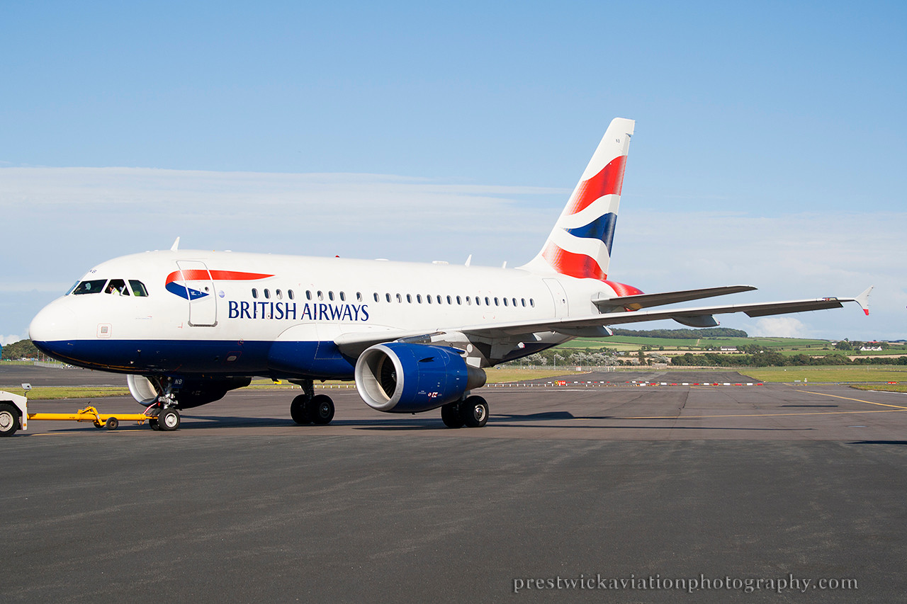 G-EUNB. Airbus A318-112 CJ Elite. British Airways. Prestwick. 280814.