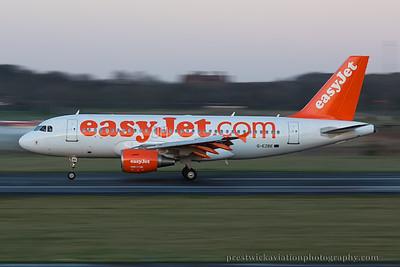 G-EZBE. Airbus A319-111. EasyJet. Prestwick. 021214.