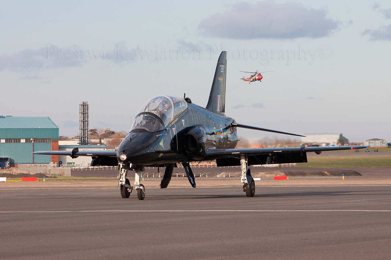 XX287. British Aerospace Hawk T1. RAF. Prestwick. 270314.