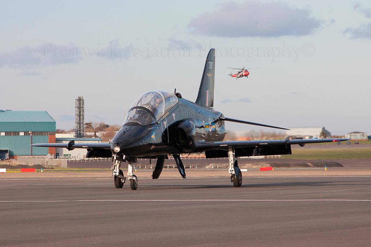 XX287. British Aerospace Hawk T1. RAF. Prestwick. 270314.