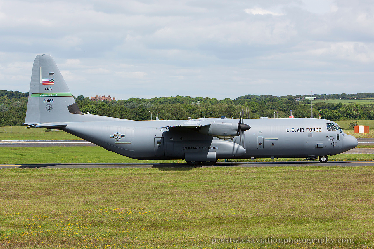 02-1463. Lockheed Martin C-130J Hercules. USAF. Prestwick. 220614.