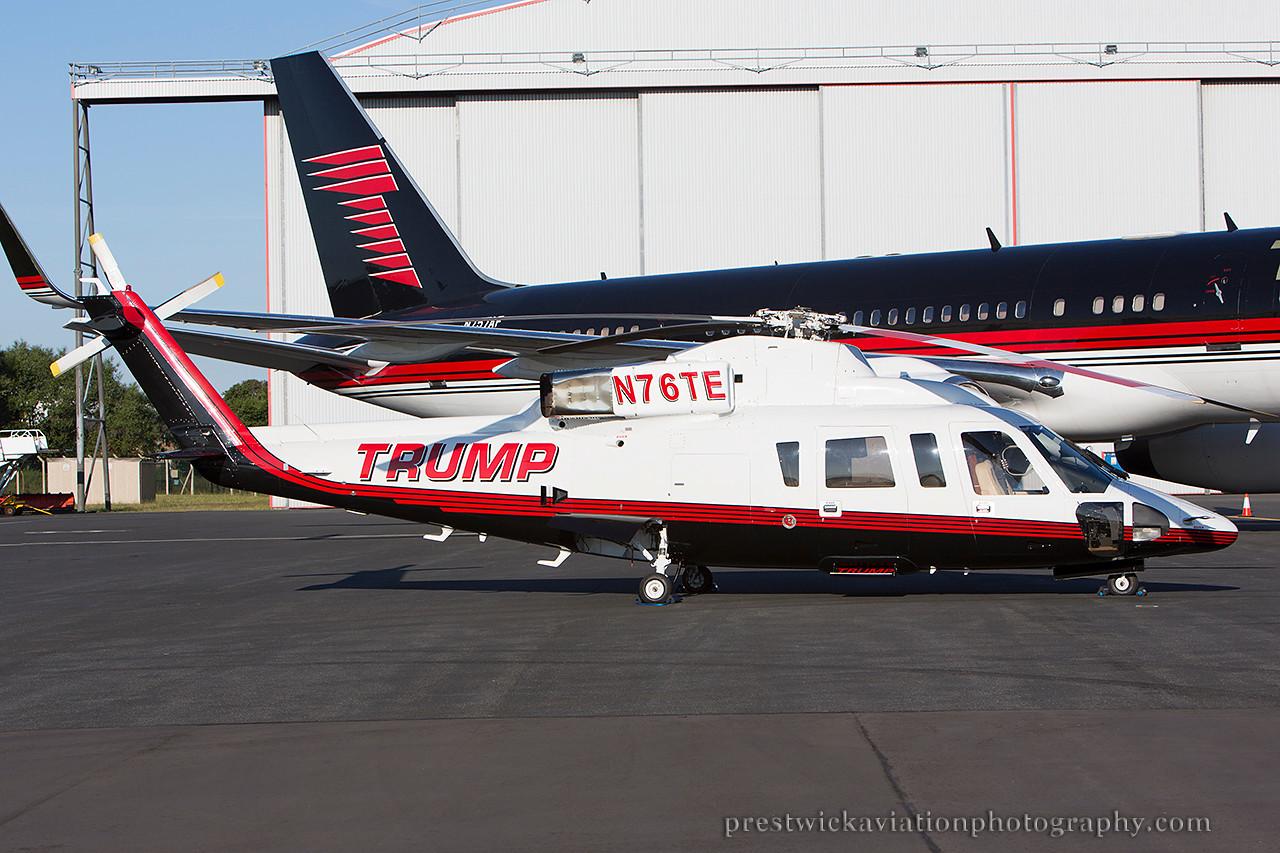 N76TE Sikorsky S-76B. Trump Corp. Prestwick. 010714.