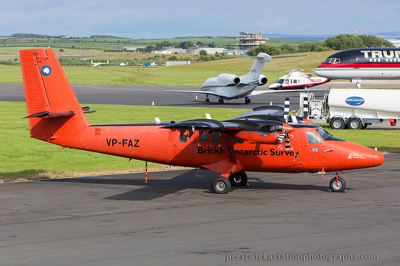 VP-FAZ. De Havilland Canada DHC-6-300 Twin Otter. British Antarctic Survey. Prestwick. 300614.