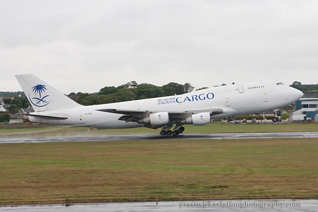 4L-ACE. Boeing 747-329M(SF). Saudia Cargo. Prestwick. 140714.