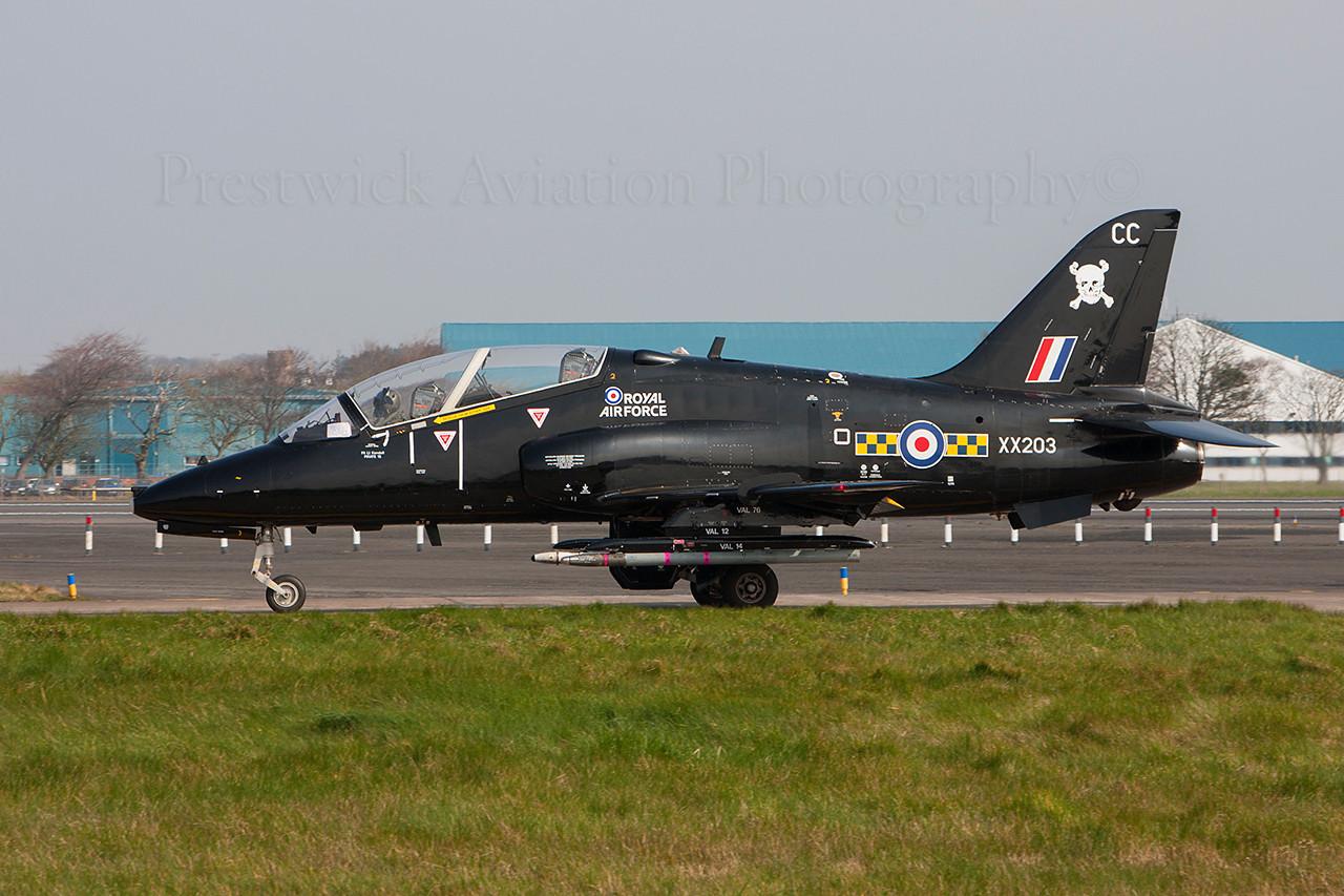 XX203. British Aerospace Hawk T1A . RAF. Prestwick. 310314.