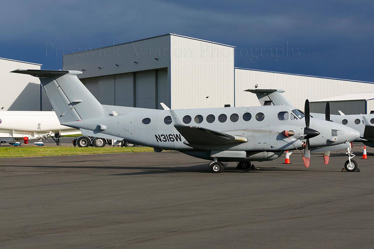 N316W. Beech 350 Super King Air. US Army. Prestwick. 030614.