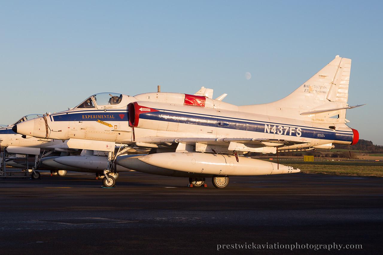N437FS. McDonnell Douglas A-4N Skyhawk II. Bae Systems. Prestwick. 021214.