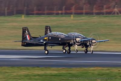 ZF377. Short S-312 Tucano-T1. RAF. Prestwick. 281114.