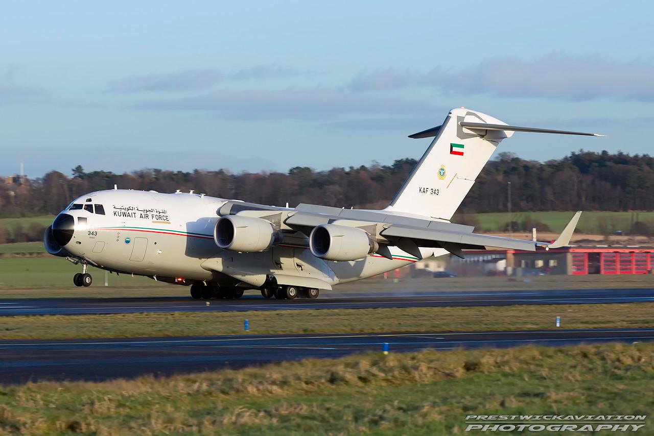KAF 343. Boeing C-17A Globemaster III. Kuwait Air Force. Prestwick. 040117.