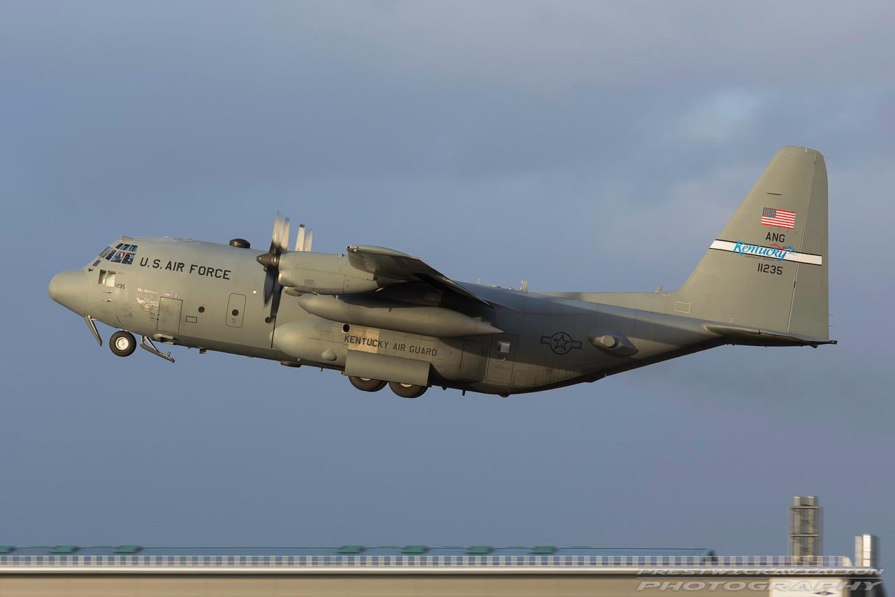 91-1235. Lockheed C-130H Hercules. USAF. Prestwick. 080317.