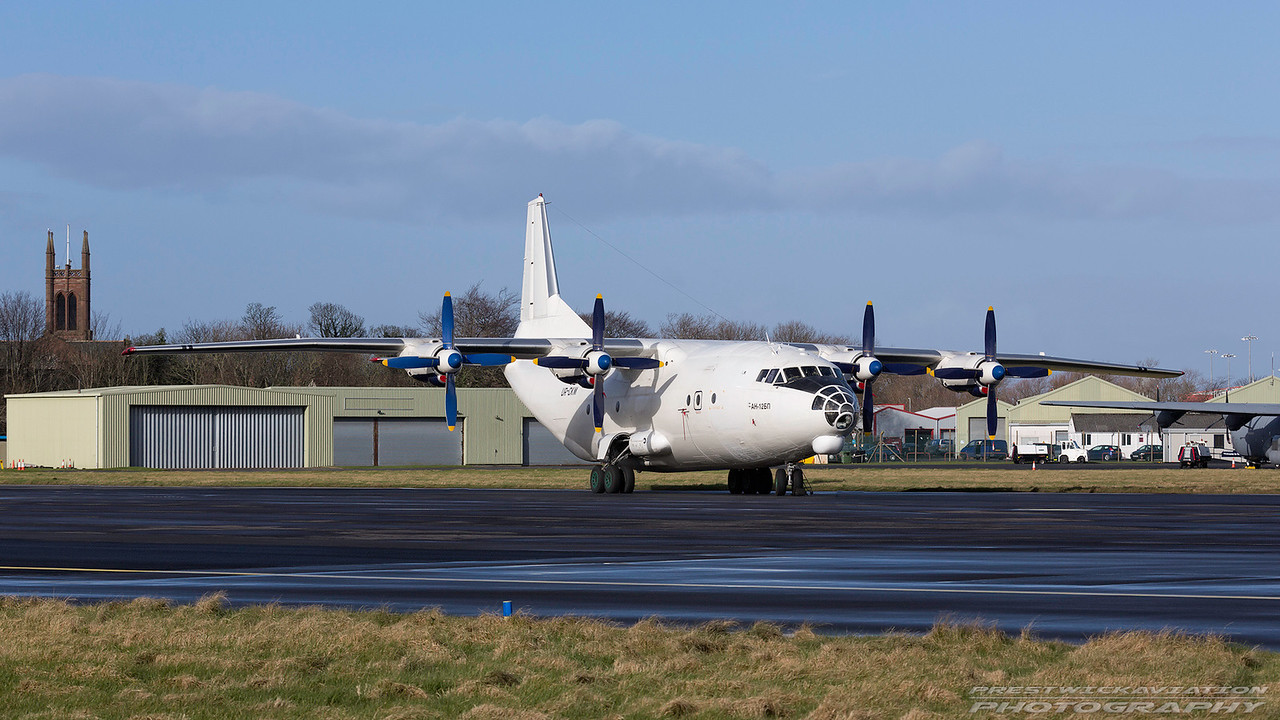 UR-CKM. Antonov An-12-BP. Cavok Air. Prestwick. 060317.
