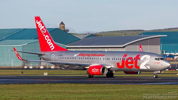 G-GDFC. Boeing 737-8K2. Jet2. Prestwick. 271217.
