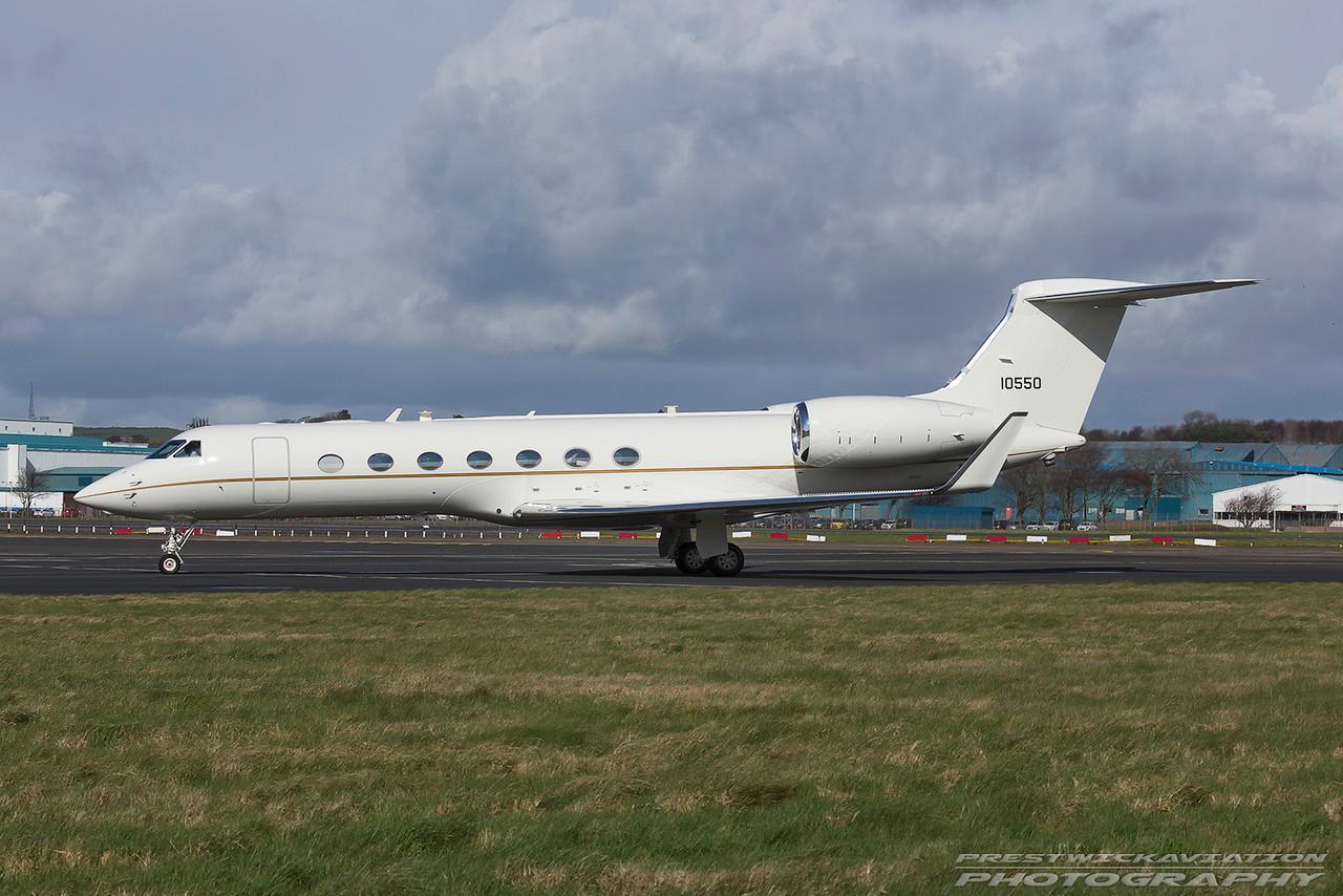 11-0550. Gulfstream Aerospace C-37A. USAF. Prestwick. 220317.