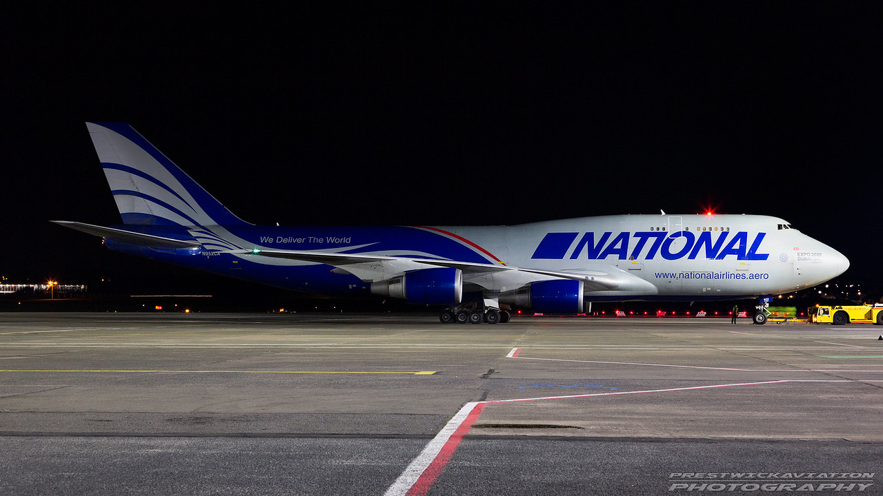 N952CA. Boeing 747-428MBC(F). National Airlines. Prestwick. 050317.