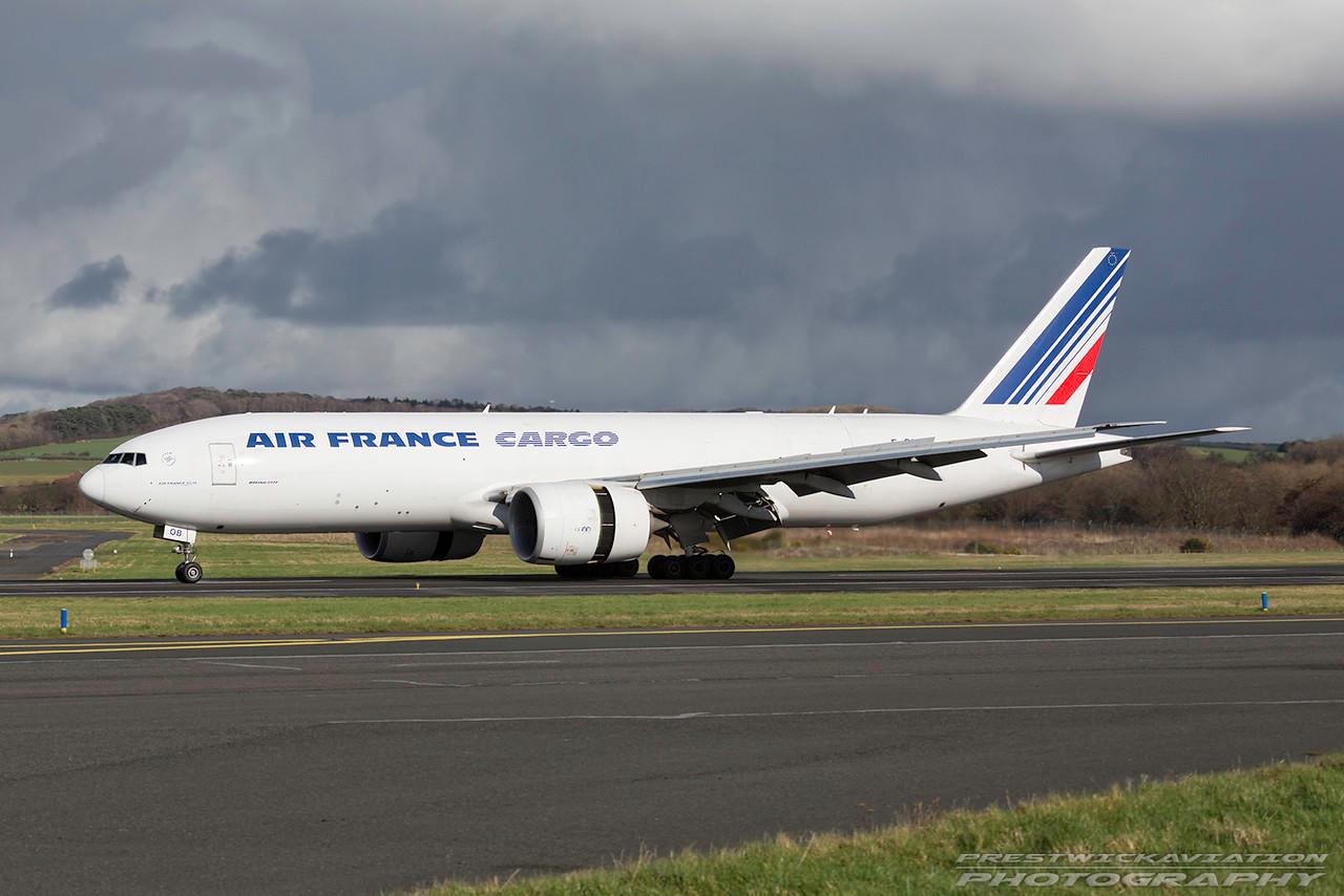 F-GUOB. Boeing 777-F28. Air France Cargo. Prestwick. 010317.
