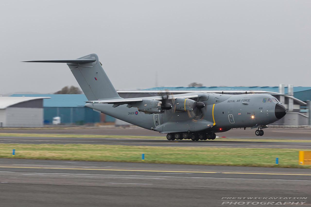 ZM408. Airbus A400M Atlas C1. RAF. Prestwick. 270217.