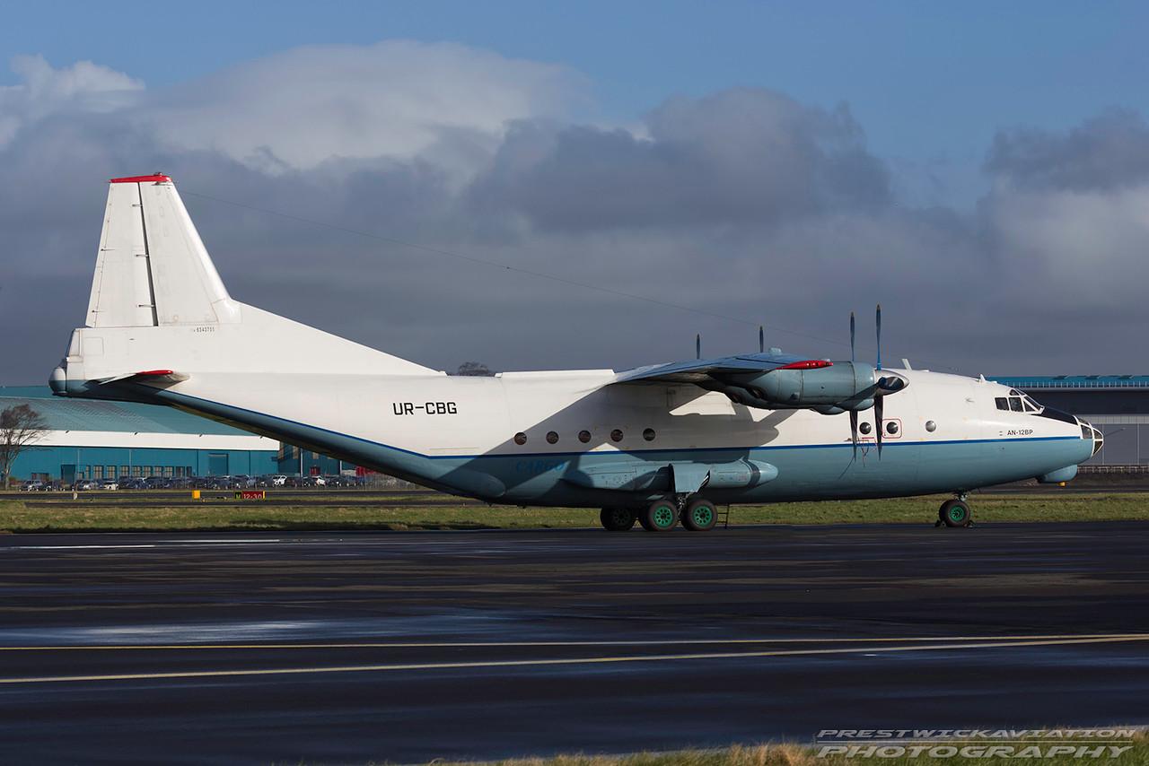 UR-CBG. Antonov AN-12BP. Cavok Air. Prestwick. 060317.